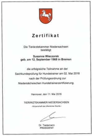 Zertifikat Tierärztekammer Niedersachsen