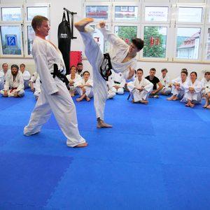 Kick-Übung am Partner in der Kampfsportschule Jena