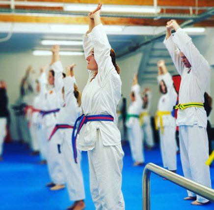 Gymnastische Übung einer jungen Frau im weißen Kampfkunstanzug.