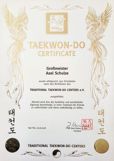 Großmeister-Urkunde von Axel Schulze im Taekwondo