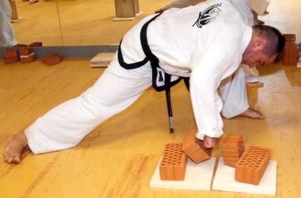 Karate Bruchtest mit Ziegelsteinen
