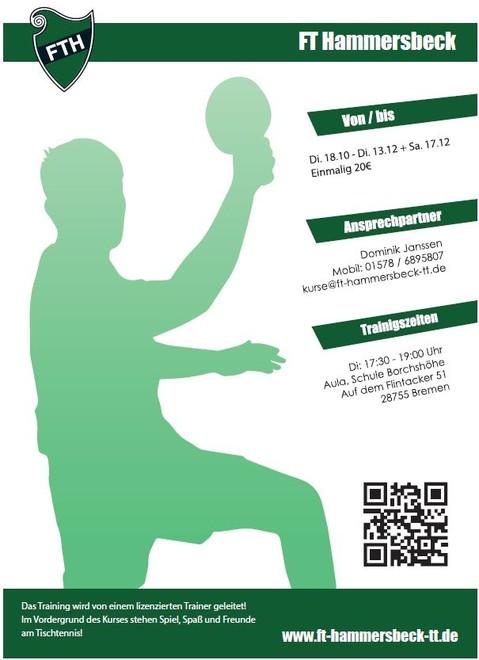 Flyer Tischtenniskurs