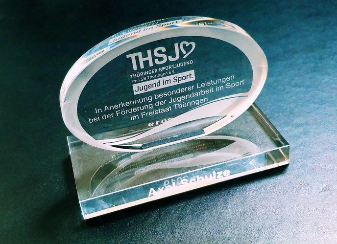 Ehrenplakette der Thüringer Sportjugend (THSJ) für Axel Schulze