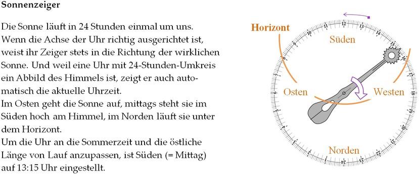Astronomische Uhr und Sonne: Erklärung (www.physik.de.rs)